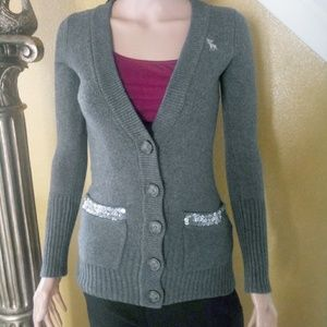 Grey Abercrombie button down sweater with pockets